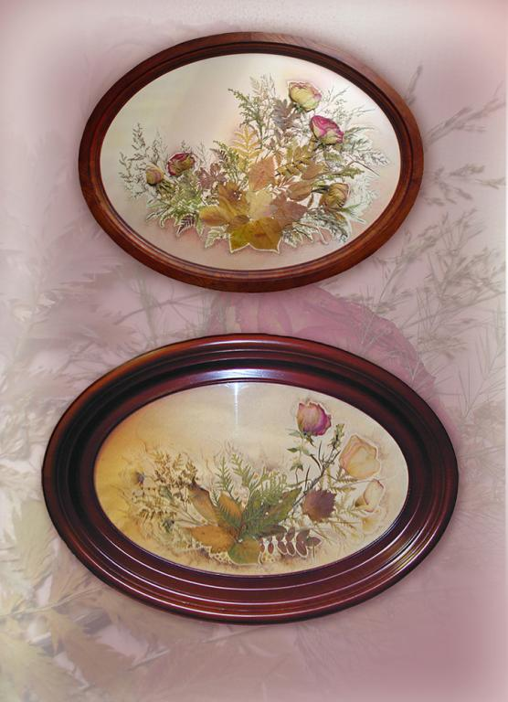 Картины в овальных рамах (дерево). Природный материал.