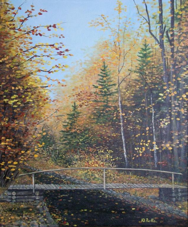 Деревянный мостик через ручей в осеннем лесу