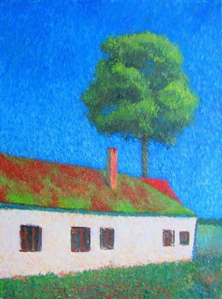 синий, ядреное небо, трава, домик, франция