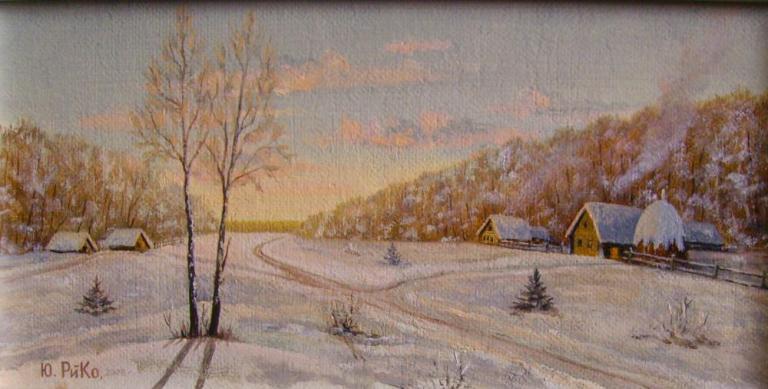 Зимний вечер в деревне