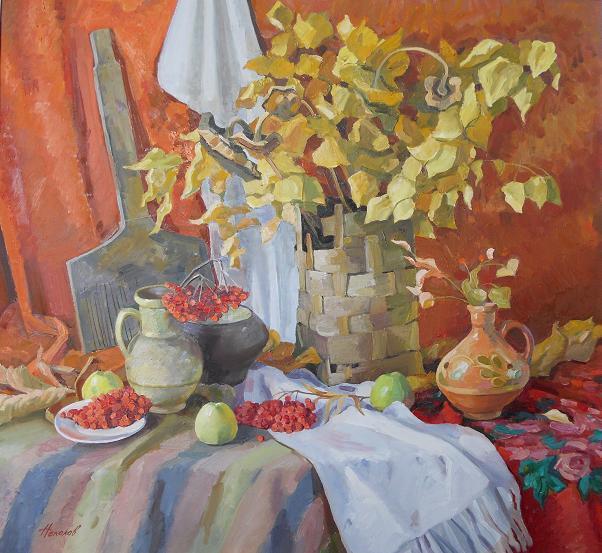 """Живопись """"Осенний натюрморт"""" холст, масло 93 x 100 2010 г"""