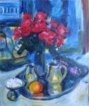 натюрморт розы и фиалки