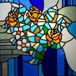 """Витраж """"цветы"""" 1990 г CCCР Неколов С. В."""
