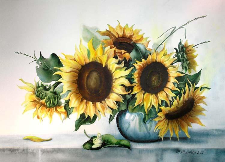 Акварель, цветы, подсолнухи, натюрморт