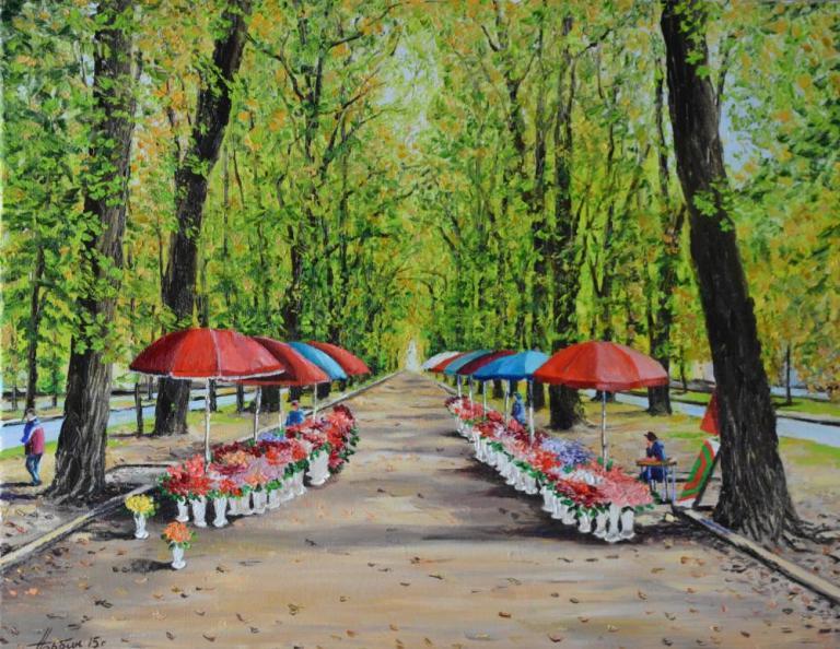 Ромны. Цветочный рынок.