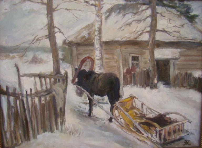 Зима деревня.