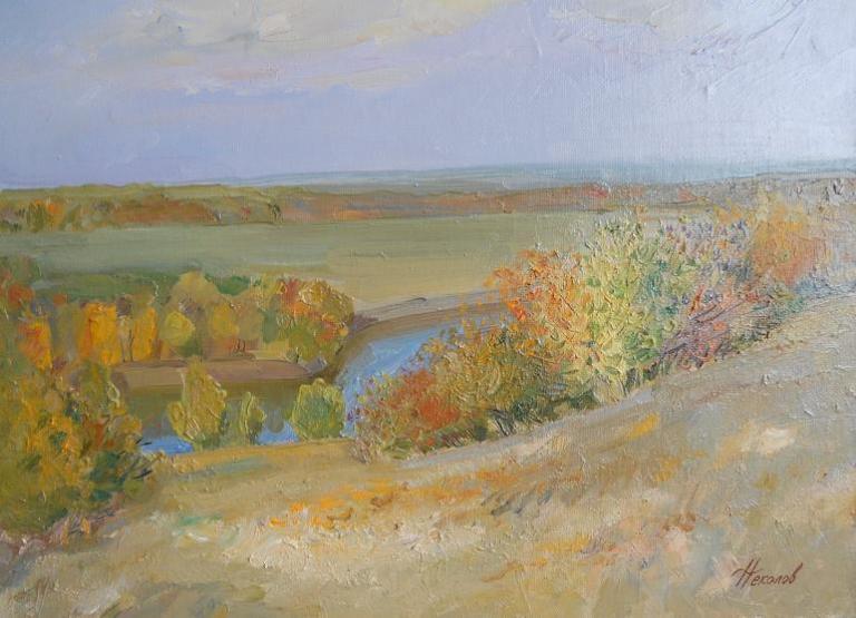 """Живопись """"У реки"""" холст, масло 40 x 55 2005 г"""